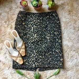 {Talbots} NWT Fuzzy Leopard Print Pencil Skirt, 10